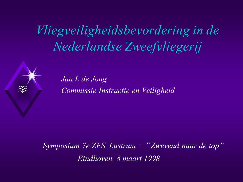 Vliegveiligheidsbevordering in de Nederlandse Zweefvliegerij Jan L de Jong Commissie Instructie en Veiligheid Symposium 7e ZES Lustrum : Zwevend naar de top Eindhoven, 8 maart 1998