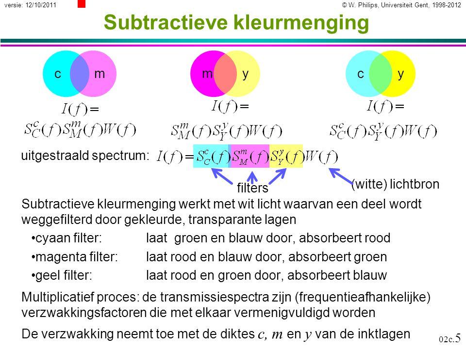 © W. Philips, Universiteit Gent, 1998-2012versie: 12/10/2011 02c. 5 cym Subtractieve kleurmenging Subtractieve kleurmenging werkt met wit licht waarva