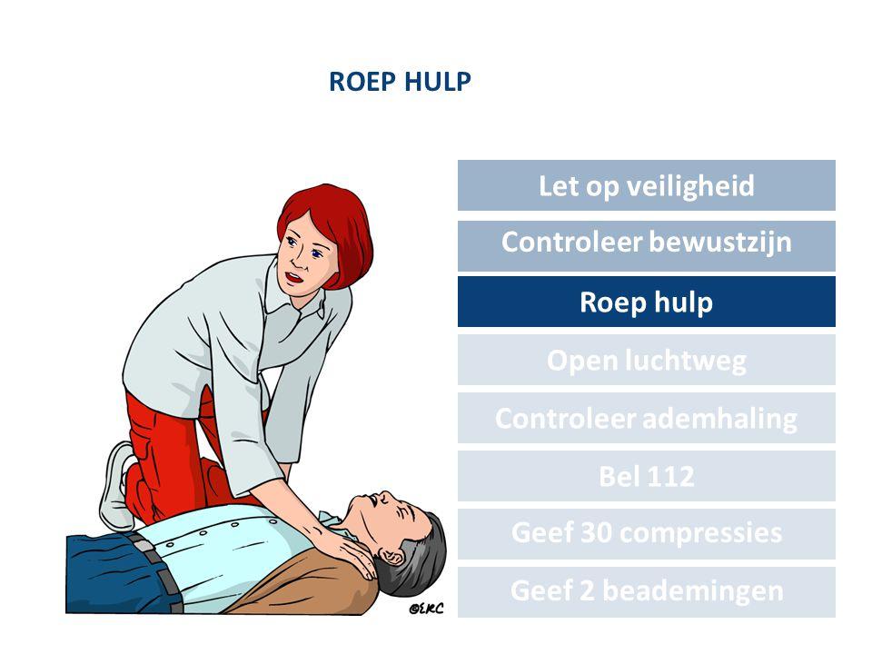 ROEP HULP Let op veiligheid Controleer bewustzijn Roep hulp Open luchtweg Controleer ademhaling Bel 112 Geef 30 compressies Geef 2 beademingen