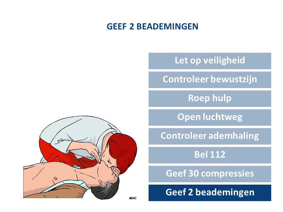 GEEF 2 BEADEMINGEN Let op veiligheid Controleer bewustzijn Roep hulp Open luchtweg Controleer ademhaling Bel 112 Geef 30 compressies Geef 2 beademinge