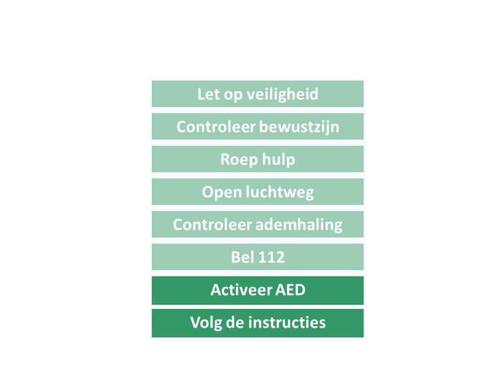 Bel 112 Let op veiligheid Controleer bewustzijn Roep hulp Open luchtweg Controleer ademhaling Activeer AED Volg de instructies