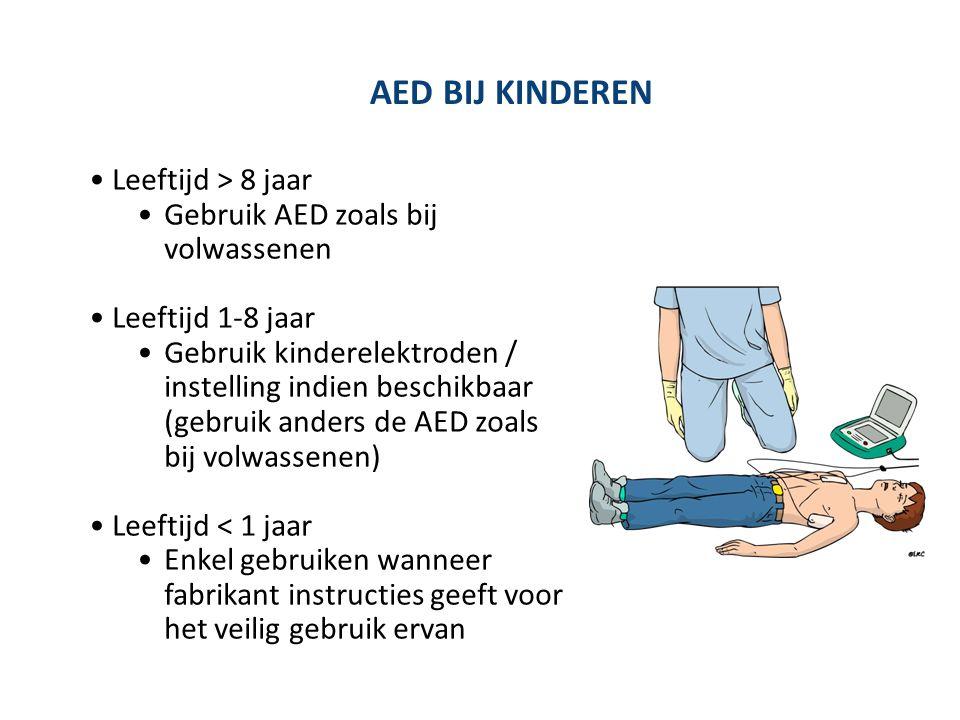 AED BIJ KINDEREN Leeftijd > 8 jaar Gebruik AED zoals bij volwassenen Leeftijd 1-8 jaar Gebruik kinderelektroden / instelling indien beschikbaar (gebru