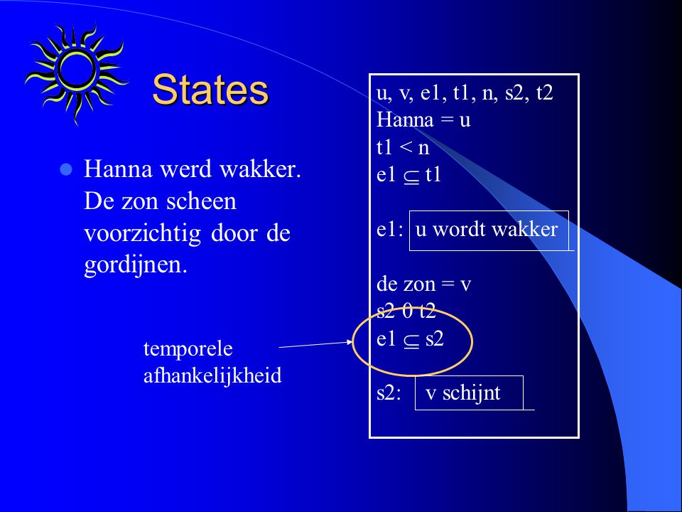 States Hanna werd wakker. De zon scheen voorzichtig door de gordijnen.