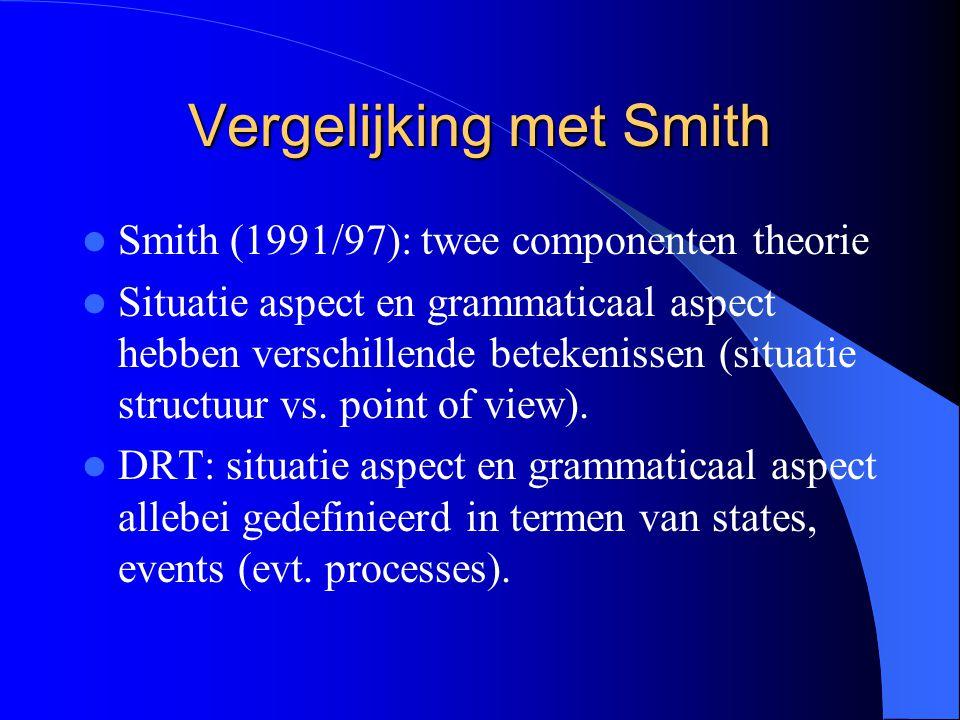 Vergelijking met Smith Smith (1991/97): twee componenten theorie Situatie aspect en grammaticaal aspect hebben verschillende betekenissen (situatie structuur vs.
