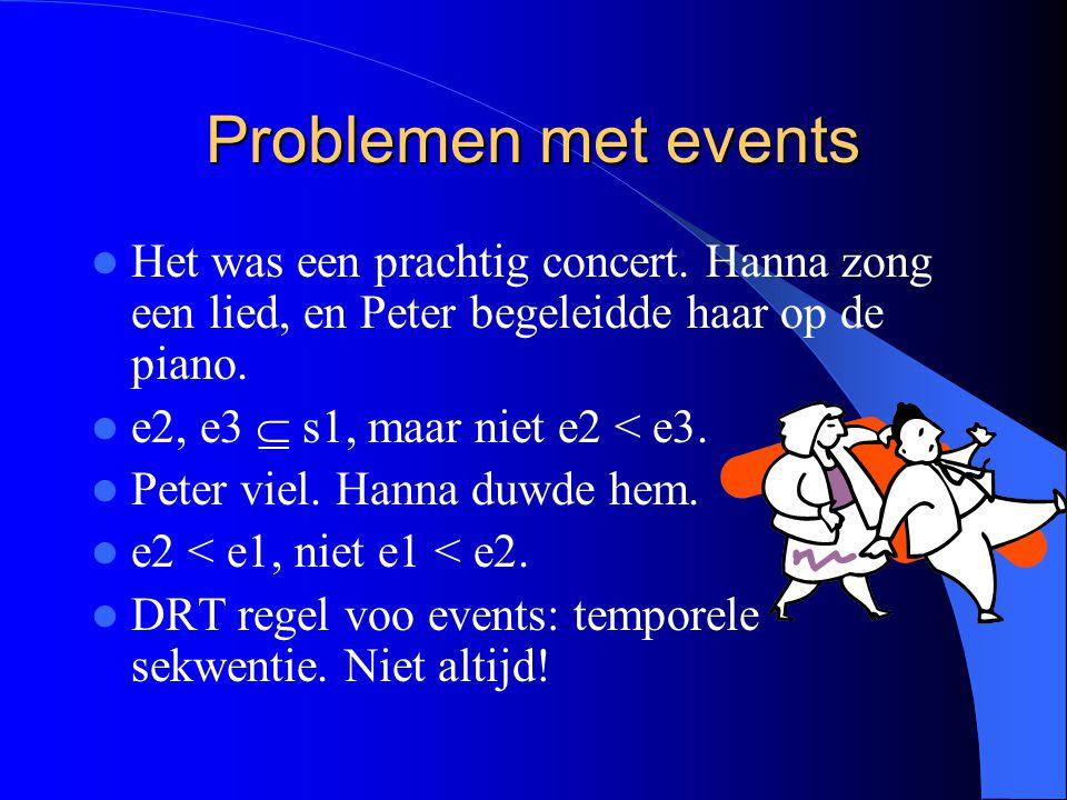 Problemen met events Het was een prachtig concert.