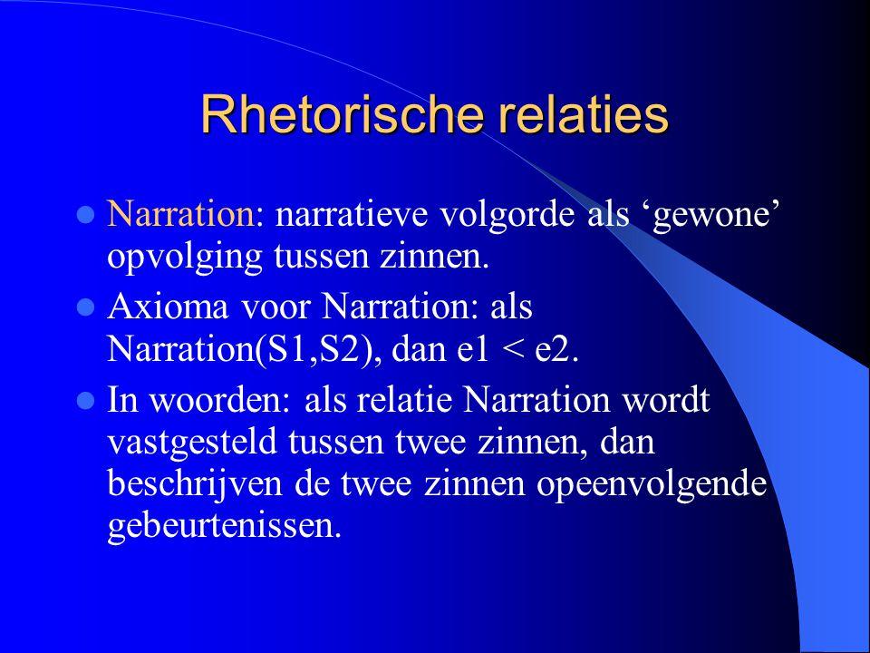 Rhetorische relaties Narration: narratieve volgorde als 'gewone' opvolging tussen zinnen.