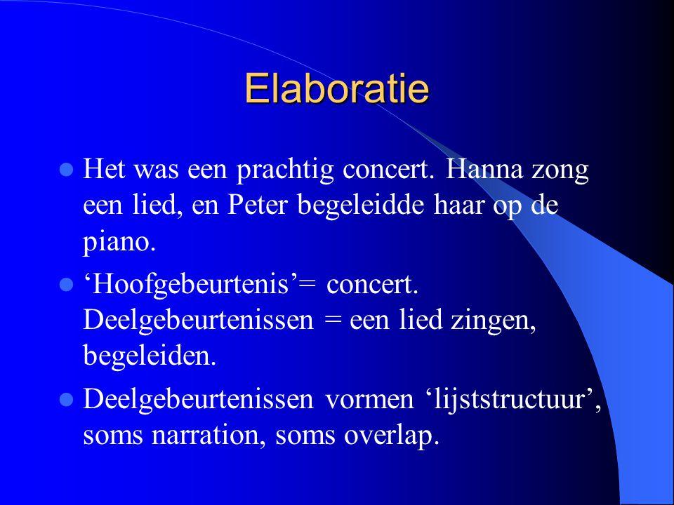 Elaboratie Het was een prachtig concert. Hanna zong een lied, en Peter begeleidde haar op de piano.