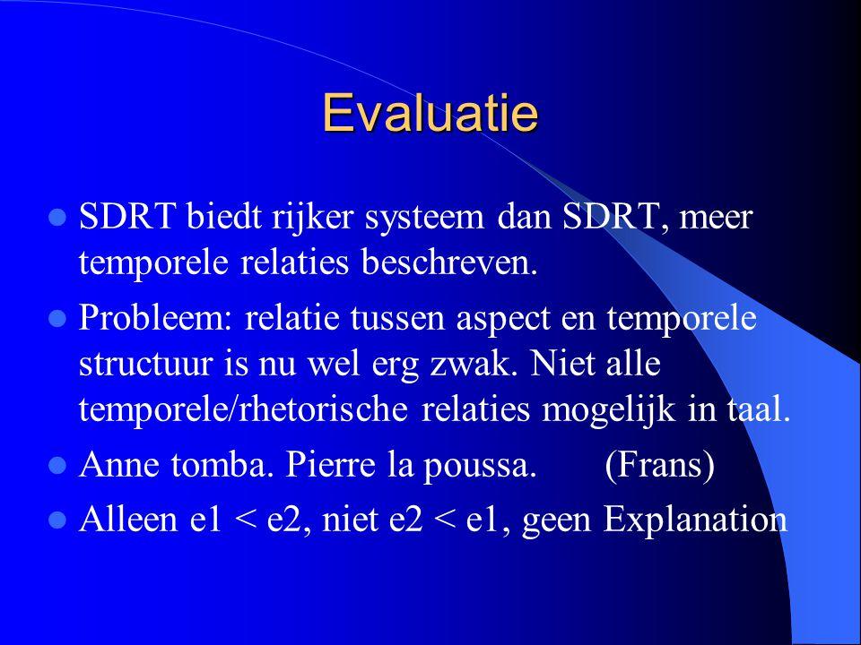 Evaluatie SDRT biedt rijker systeem dan SDRT, meer temporele relaties beschreven.