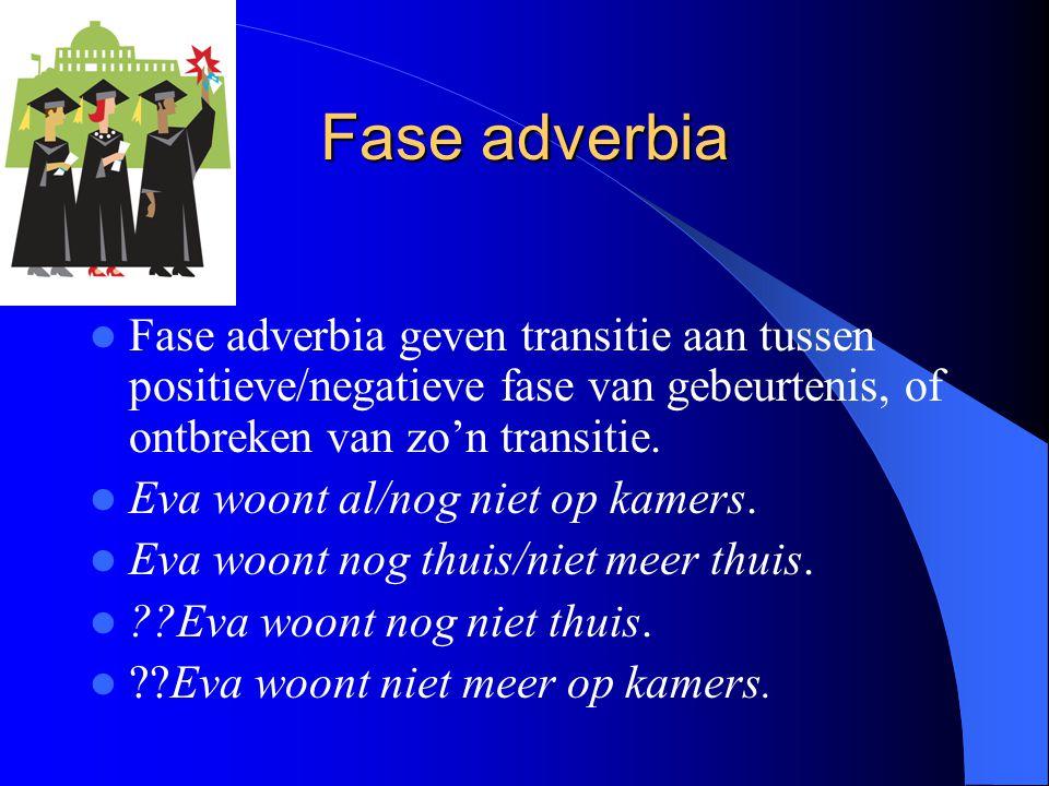 Fase adverbia Fase adverbia geven transitie aan tussen positieve/negatieve fase van gebeurtenis, of ontbreken van zo'n transitie. Eva woont al/nog nie