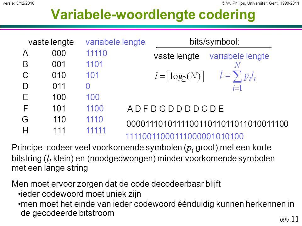 © W. Philips, Universiteit Gent, 1999-2011versie: 8/12/2010 09b. 11 Variabele-woordlengte codering Principe: codeer veel voorkomende symbolen ( p i gr