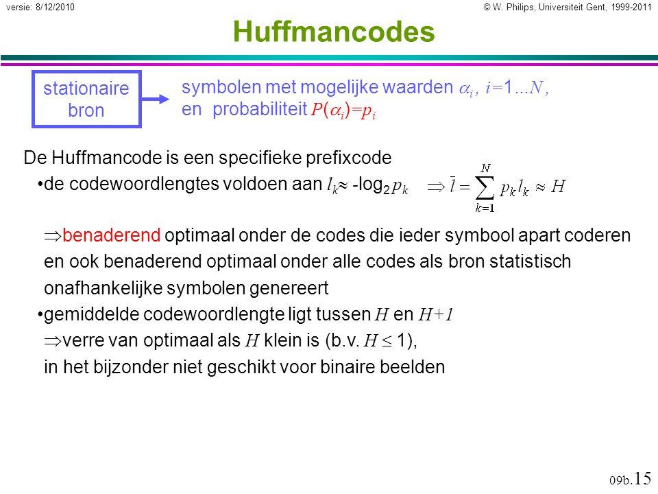 © W. Philips, Universiteit Gent, 1999-2011versie: 8/12/2010 09b. 15 Huffmancodes stationaire bron symbolen met mogelijke waarden  i, i= 1 …N, en prob