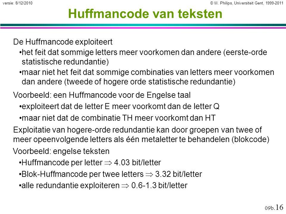 © W. Philips, Universiteit Gent, 1999-2011versie: 8/12/2010 09b. 16 Huffmancode van teksten De Huffmancode exploiteert het feit dat sommige letters me