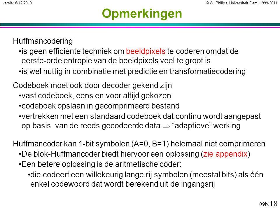 © W. Philips, Universiteit Gent, 1999-2011versie: 8/12/2010 09b. 18 Opmerkingen Huffmancodering is geen efficiënte techniek om beeldpixels te coderen