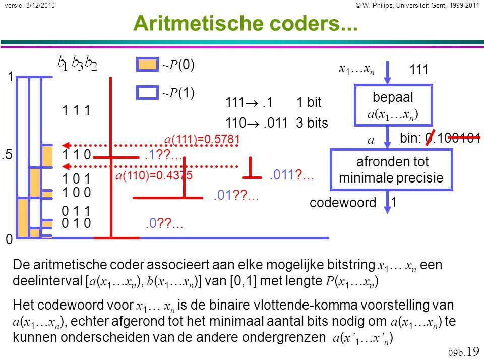 © W. Philips, Universiteit Gent, 1999-2011versie: 8/12/2010 09b. 19 Aritmetische coders... Het codewoord voor x 1 … x n is de binaire vlottende-komma