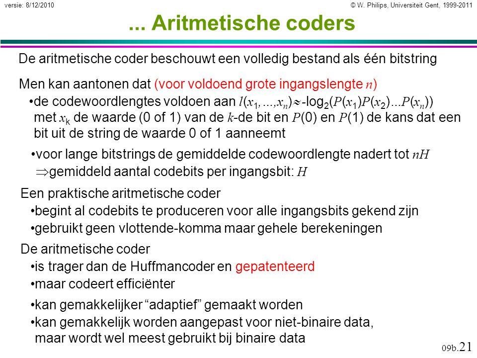 © W. Philips, Universiteit Gent, 1999-2011versie: 8/12/2010 09b. 21... Aritmetische coders De aritmetische coder is trager dan de Huffmancoder en gepa