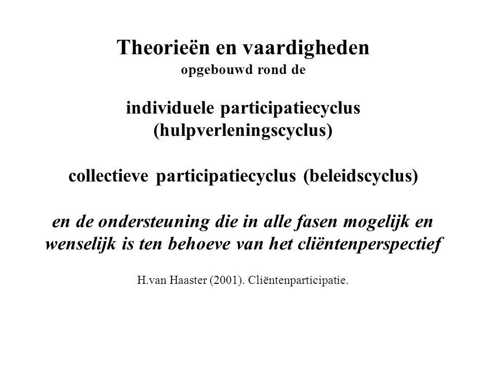 Theorieën en vaardigheden opgebouwd rond de individuele participatiecyclus (hulpverleningscyclus) collectieve participatiecyclus (beleidscyclus) en de