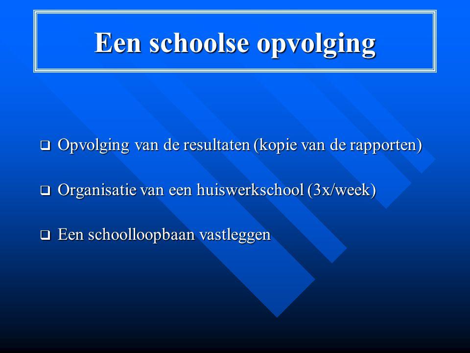 Een schoolse opvolging  Opvolging van de resultaten (kopie van de rapporten)  Organisatie van een huiswerkschool (3x/week)  Een schoolloopbaan vastleggen