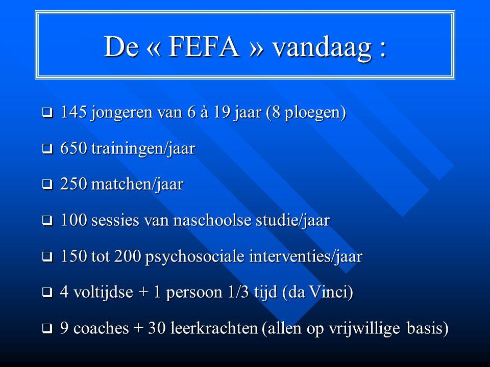 De « FEFA » vandaag :  145 jongeren van 6 à 19 jaar (8 ploegen)  650 trainingen/jaar  250 matchen/jaar  100 sessies van naschoolse studie/jaar  150 tot 200 psychosociale interventies/jaar  4 voltijdse + 1 persoon 1/3 tijd (da Vinci)  9 coaches + 30 leerkrachten (allen op vrijwillige basis)