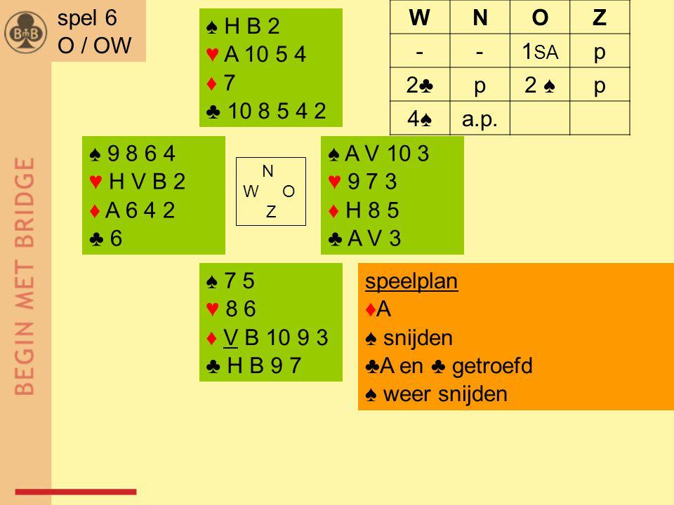 ♠ 9 8 6 4 ♥ H V B 2 ♦ A 6 4 2 ♣ 6 ♠ A V 10 3 ♥ 9 7 3 ♦ H 8 5 ♣ A V 3 N W O Z ♠ 7 5 ♥ 8 6 ♦ V B 10 9 3 ♣ H B 9 7 ♠ H B 2 ♥ A 10 5 4 ♦ 7 ♣ 10 8 5 4 2 spel 6 O / OW WNOZ --1 SA p 2♣2♣p2 ♠p 4♠a.p.