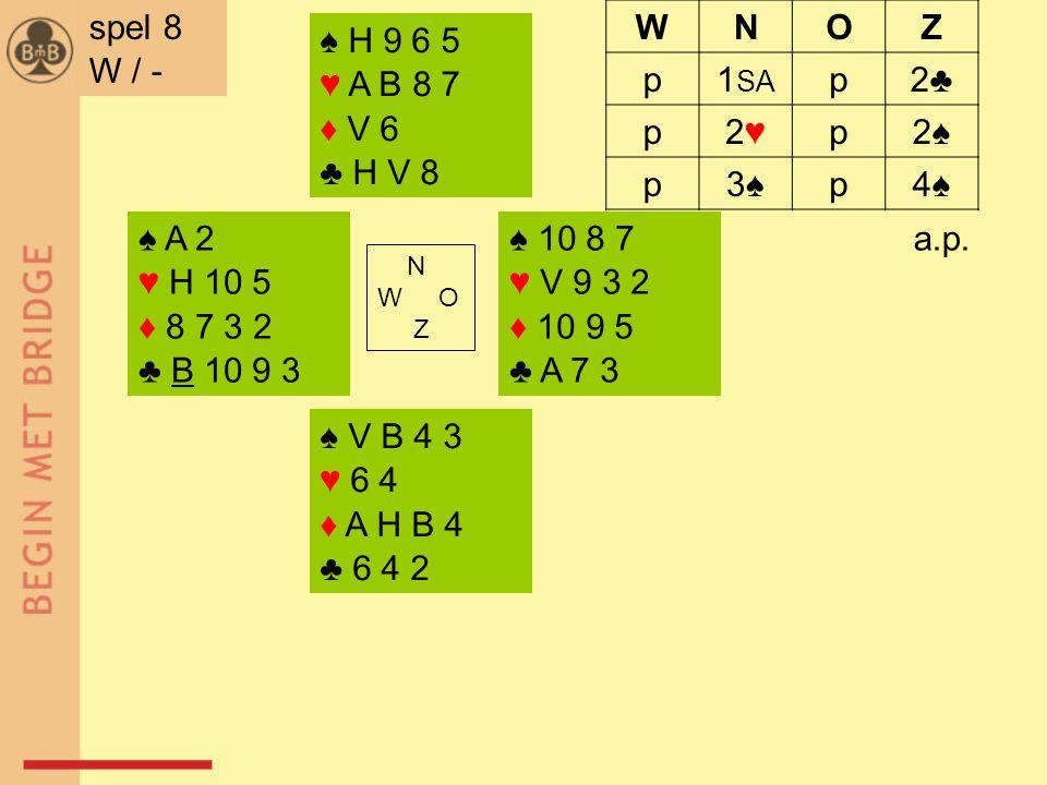 ♠ A 2 ♥ H 10 5 ♦ 8 7 3 2 ♣ B 10 9 3 ♠ 10 8 7 ♥ V 9 3 2 ♦ 10 9 5 ♣ A 7 3 N W O Z ♠ V B 4 3 ♥ 6 4 ♦ A H B 4 ♣ 6 4 2 ♠ H 9 6 5 ♥ A B 8 7 ♦ V 6 ♣ H V 8 a.p.