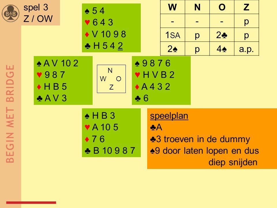 ♠ A V 10 2 ♥ 9 8 7 ♦ H B 5 ♣ A V 3 ♠ 9 8 7 6 ♥ H V B 2 ♦ A 4 3 2 ♣ 6 N W O Z ♠ H B 3 ♥ A 10 5 ♦ 7 6 ♣ B 10 9 8 7 ♠ 5 4 ♥ 6 4 3 ♦ V 10 9 8 ♣ H 5 4 2 spel 3 Z / OW WNOZ ---p 1 SA p2♣2♣p 2♠p4♠a.p.