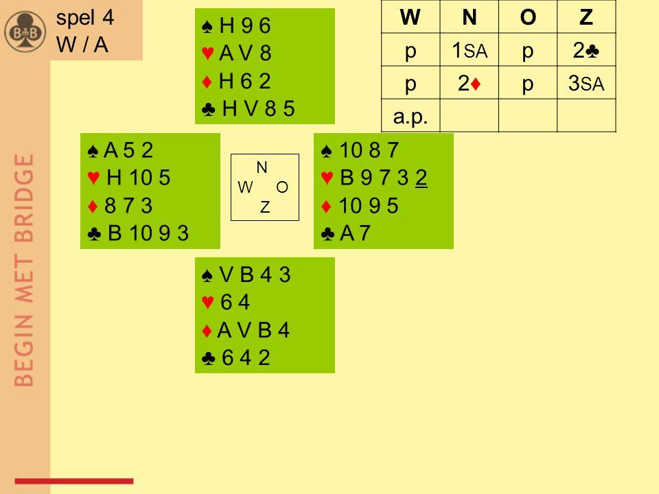 ♠ A 5 2 ♥ H 10 5 ♦ 8 7 3 ♣ B 10 9 3 ♠ 10 8 7 ♥ B 9 7 3 2 ♦ 10 9 5 ♣ A 7 N W O Z ♠ V B 4 3 ♥ 6 4 ♦ A V B 4 ♣ 6 4 2 ♠ H 9 6 ♥ A V 8 ♦ H 6 2 ♣ H V 8 5 sp
