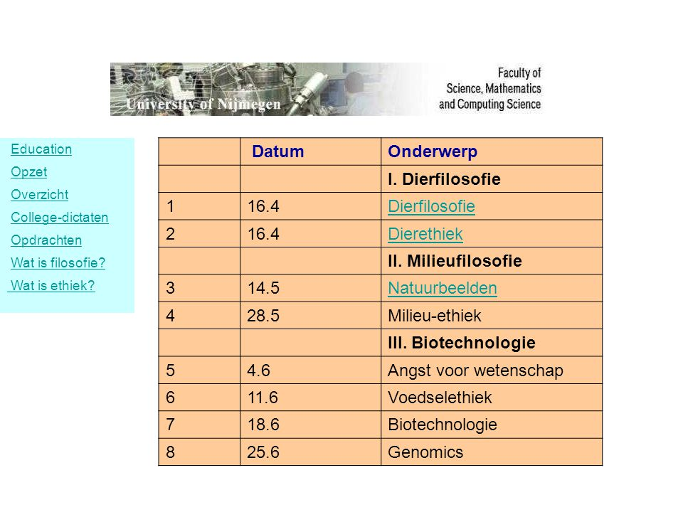 DatumOnderwerp I. Dierfilosofie 116.4Dierfilosofie 216.4Dierethiek II. Milieufilosofie 314.5Natuurbeelden 428.5Milieu-ethiek III. Biotechnologie 54.6A