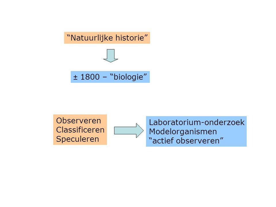 """± 1800 – """"biologie"""" """"Natuurlijke historie"""" Observeren Classificeren Speculeren Laboratorium-onderzoek Modelorganismen """"actief observeren"""""""