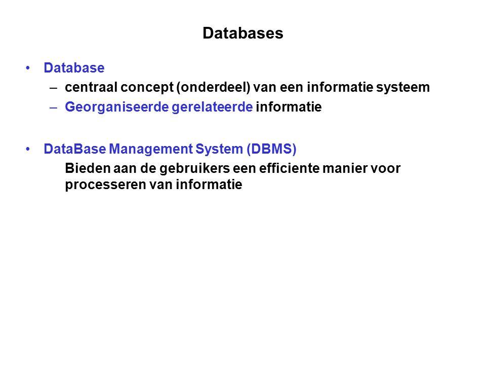 Databases Database –centraal concept (onderdeel) van een informatie systeem –Georganiseerde gerelateerde informatie DataBase Management System (DBMS)