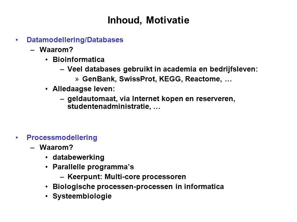 Inhoud, Motivatie Datamodellering/Databases – Waarom? Bioinformatica – Veel databases gebruikt in academia en bedrijfsleven: » GenBank, SwissProt, KEG