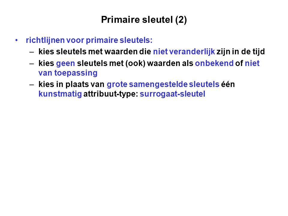 Primaire sleutel (2) richtlijnen voor primaire sleutels: – kies sleutels met waarden die niet veranderlijk zijn in de tijd – kies geen sleutels met (o