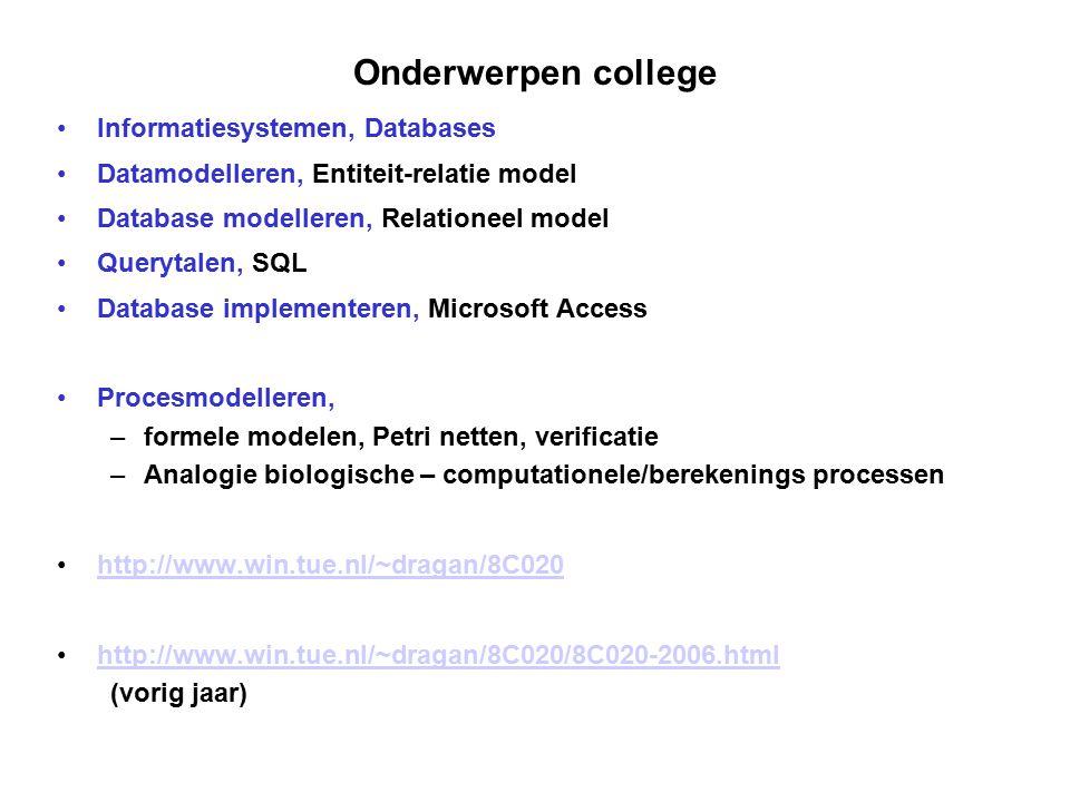 Onderwerpen college Informatiesystemen, Databases Datamodelleren, Entiteit-relatie model Database modelleren, Relationeel model Querytalen, SQL Databa