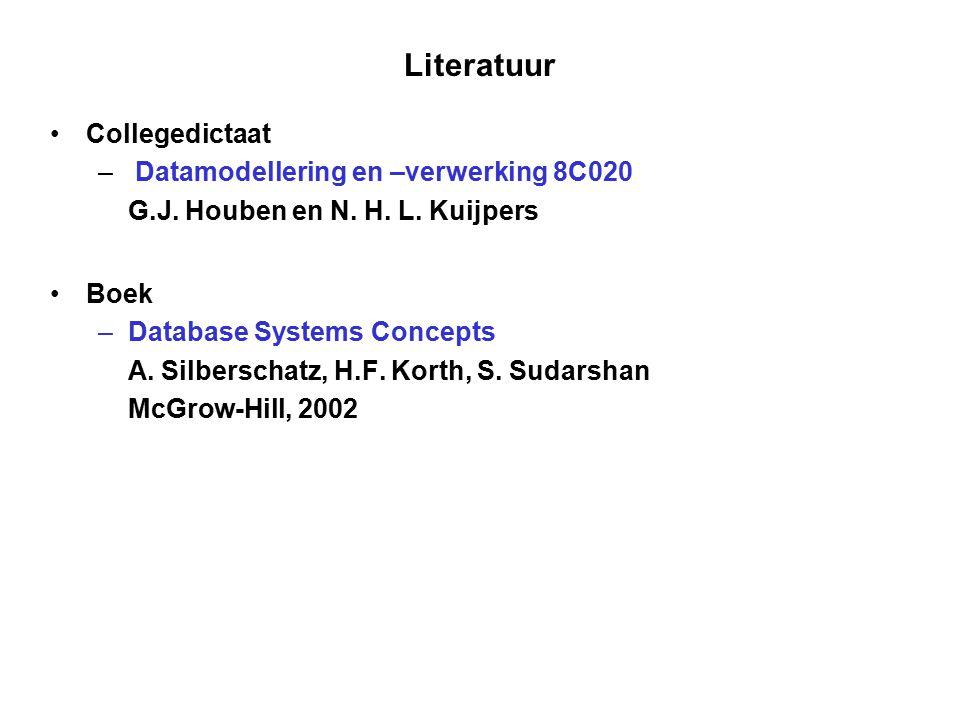 Literatuur Collegedictaat – Datamodellering en –verwerking 8C020 G.J. Houben en N. H. L. Kuijpers Boek – Database Systems Concepts A. Silberschatz, H.