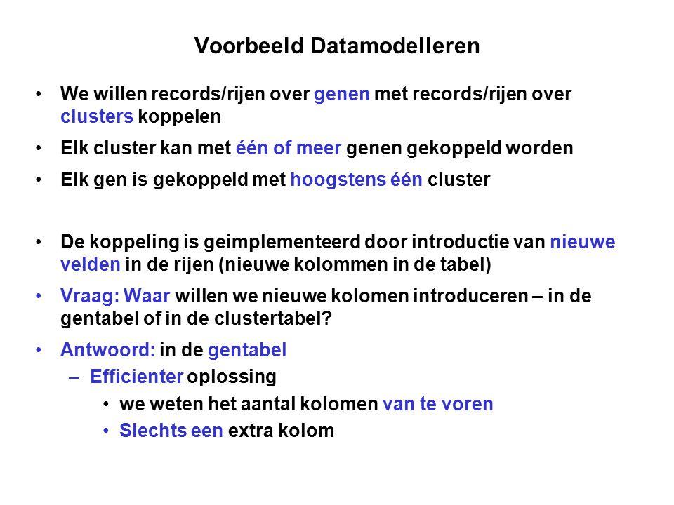 Voorbeeld Datamodelleren We willen records/rijen over genen met records/rijen over clusters koppelen Elk cluster kan met één of meer genen gekoppeld w