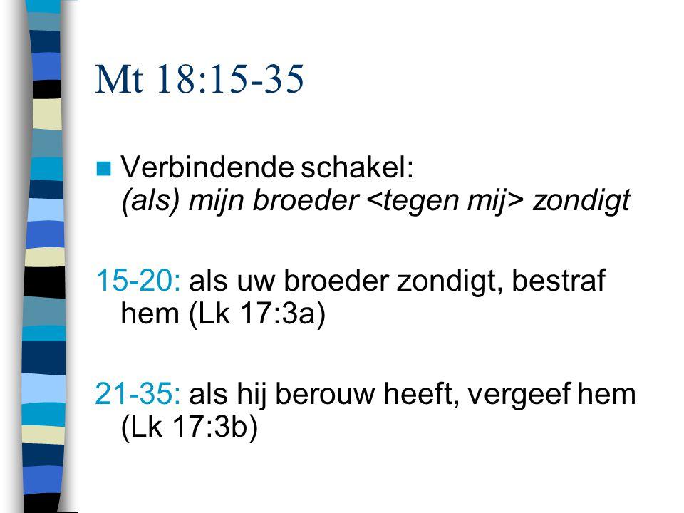 Mt 18:15-35 Verbindende schakel: (als) mijn broeder zondigt 15-20: als uw broeder zondigt, bestraf hem (Lk 17:3a) 21-35: als hij berouw heeft, vergeef hem (Lk 17:3b)