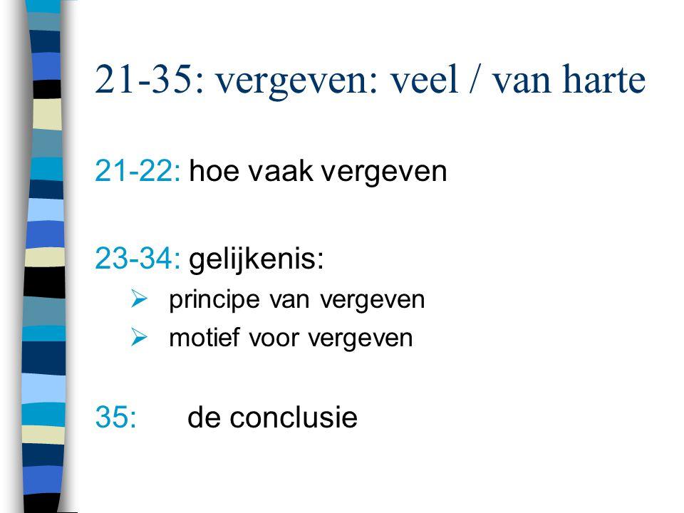 21-35: vergeven: veel / van harte 21-22: hoe vaak vergeven 23-34: gelijkenis:  principe van vergeven  motief voor vergeven 35: de conclusie