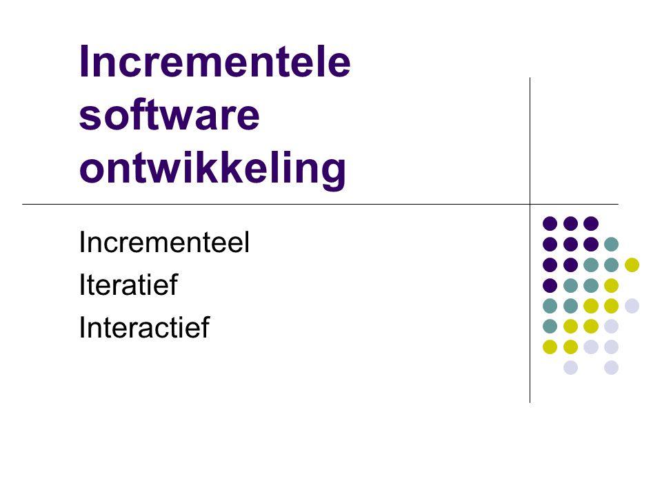 Interactief Een systeem voor klanten Domeindeskundige Communicatie mbv standaardtaal (UML) Use case (diagram) Klassendiagram (statisch) Sequentiediagr