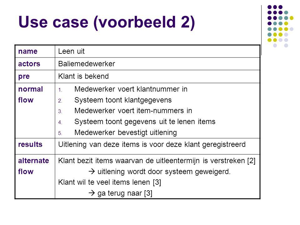 Use case (voorbeeld) name Registreer klant actors Baliemedewerker pre normal flow 1. Medewerker voert klantgegevens in 2. Systeem toont klanten met he