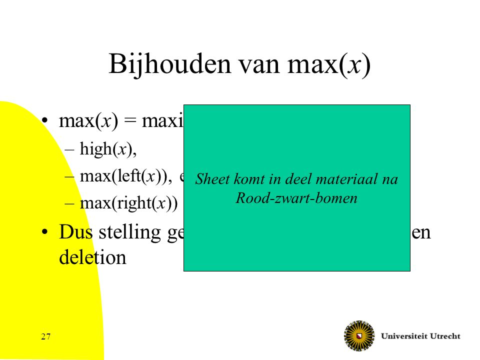 27 Bijhouden van max(x) max(x) = maximum van –high(x), –max(left(x)), en –max(right(x)) Dus stelling geldt: O(log n) per insertion en deletion Sheet k