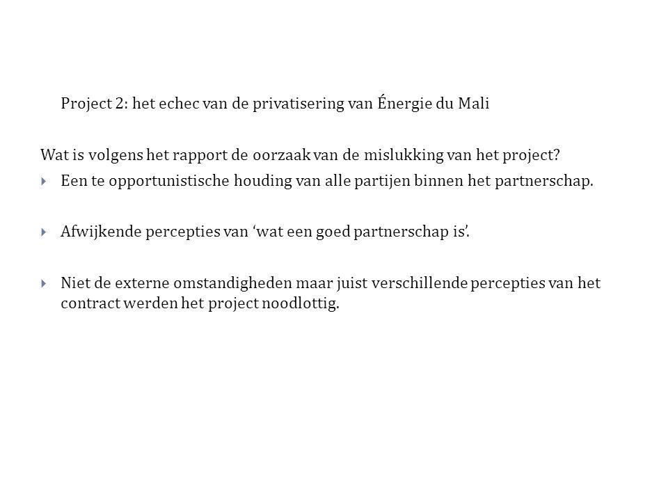 Project 2: het echec van de privatisering van Énergie du Mali Wat is volgens het rapport de oorzaak van de mislukking van het project.