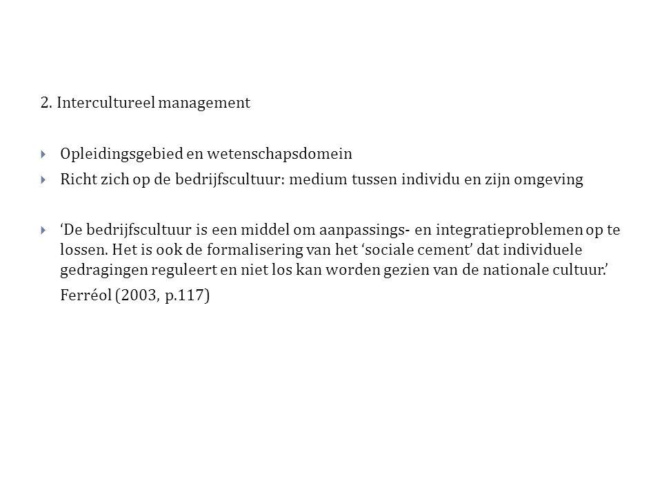 2. Intercultureel management  Opleidingsgebied en wetenschapsdomein  Richt zich op de bedrijfscultuur: medium tussen individu en zijn omgeving  'De