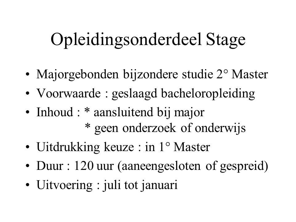 Omkadering Stagecommissie (Vz, leden (ZAP, AAP, Studenten, KCO), secr.) Stagebegeleider (Universiteit) : ZAP-lid wiens vakgebeid aansluit bij de stage Mentor (werkplaats) : jurist met +10 jaar ervaring