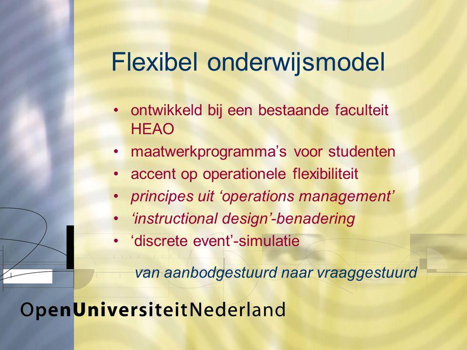 Flexibel onderwijsmodel ontwikkeld bij een bestaande faculteit HEAO maatwerkprogramma's voor studenten accent op operationele flexibiliteit principes uit 'operations management' 'instructional design'-benadering 'discrete event'-simulatie van aanbodgestuurd naar vraaggestuurd