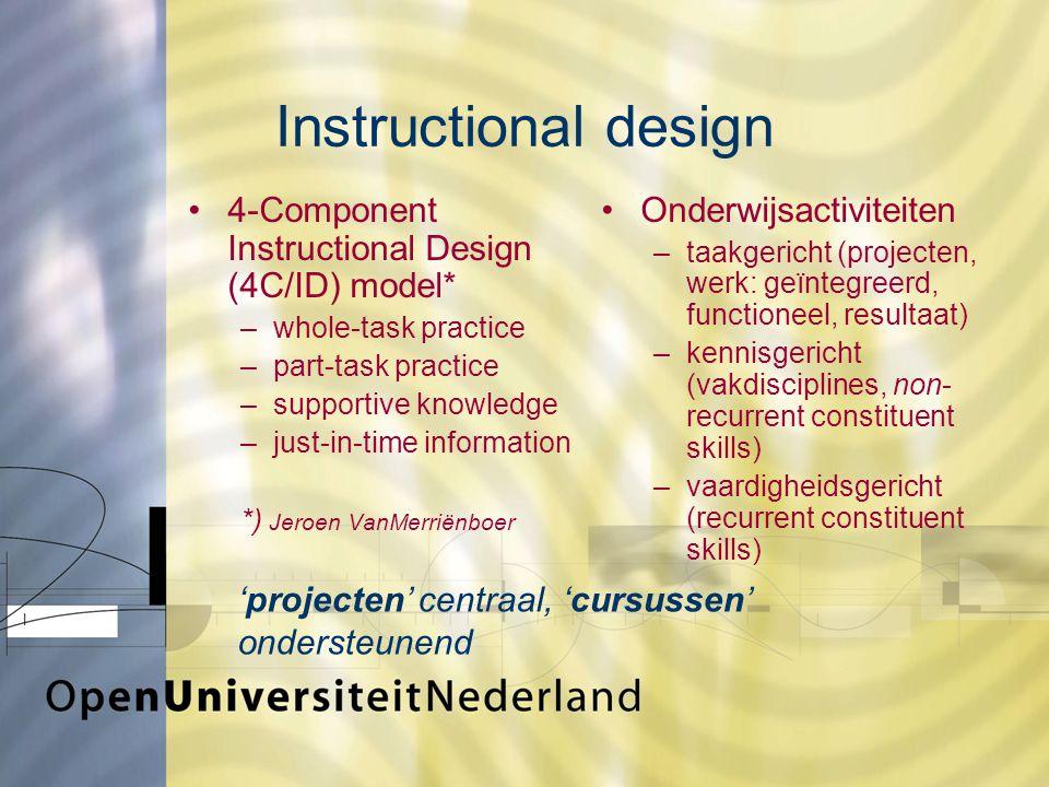 Instructional design 4-Component Instructional Design (4C/ID) model* –whole-task practice –part-task practice –supportive knowledge –just-in-time information *) Jeroen VanMerriënboer Onderwijsactiviteiten –taakgericht (projecten, werk: geïntegreerd, functioneel, resultaat) –kennisgericht (vakdisciplines, non- recurrent constituent skills) –vaardigheidsgericht (recurrent constituent skills) 'projecten' centraal, 'cursussen' ondersteunend