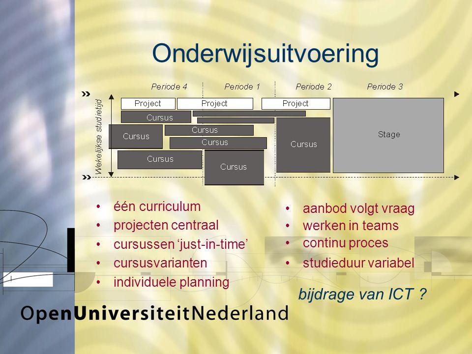 Onderwijsuitvoering één curriculum projecten centraal cursussen 'just-in-time' cursusvarianten individuele planning bijdrage van ICT .