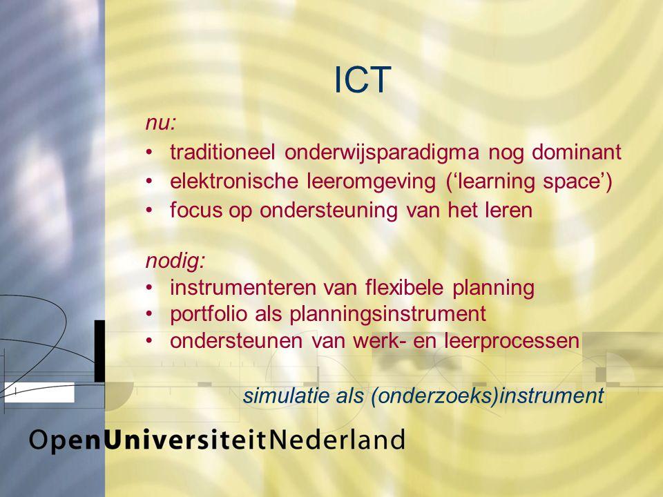 ICT nu: traditioneel onderwijsparadigma nog dominant elektronische leeromgeving ('learning space') focus op ondersteuning van het leren simulatie als (onderzoeks)instrument nodig: instrumenteren van flexibele planning portfolio als planningsinstrument ondersteunen van werk- en leerprocessen