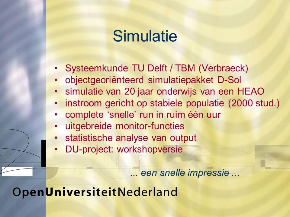 Simulatie Systeemkunde TU Delft / TBM (Verbraeck) objectgeoriënteerd simulatiepakket D-Sol simulatie van 20 jaar onderwijs van een HEAO instroom gericht op stabiele populatie (2000 stud.) complete 'snelle' run in ruim één uur uitgebreide monitor-functies statistische analyse van output DU-project: workshopversie...