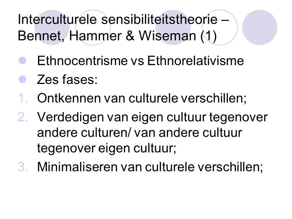 Interculturele sensibiliteitstheorie – Bennet, Hammer & Wiseman (1) Ethnocentrisme vs Ethnorelativisme Zes fases: 1.Ontkennen van culturele verschillen; 2.Verdedigen van eigen cultuur tegenover andere culturen/ van andere cultuur tegenover eigen cultuur; 3.Minimaliseren van culturele verschillen;