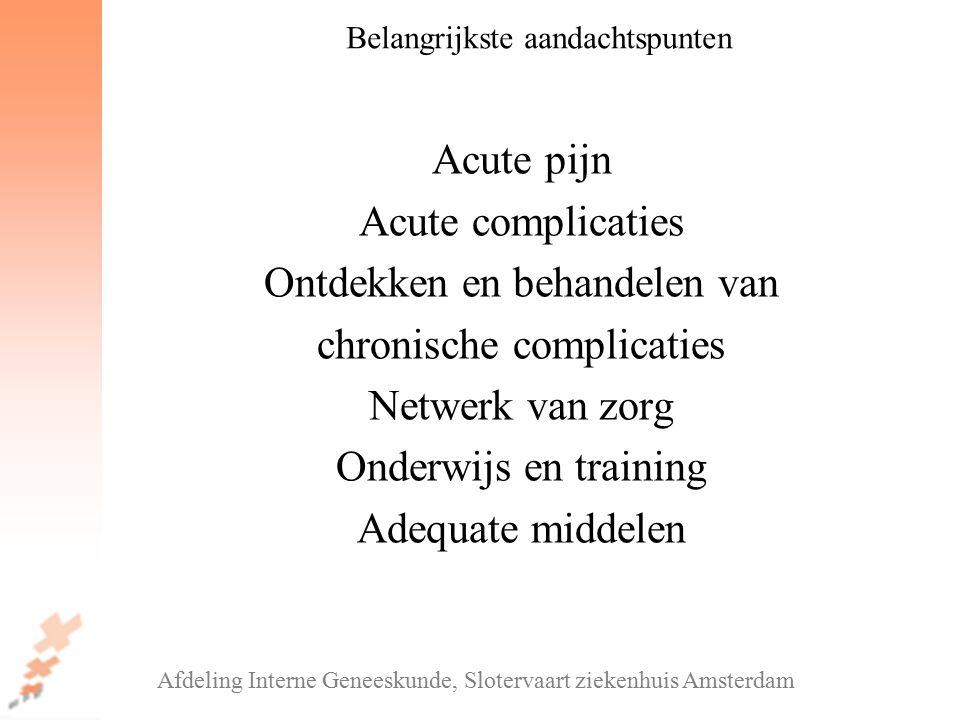 Acute pijn Acute complicaties Ontdekken en behandelen van chronische complicaties Netwerk van zorg Onderwijs en training Adequate middelen Afdeling In