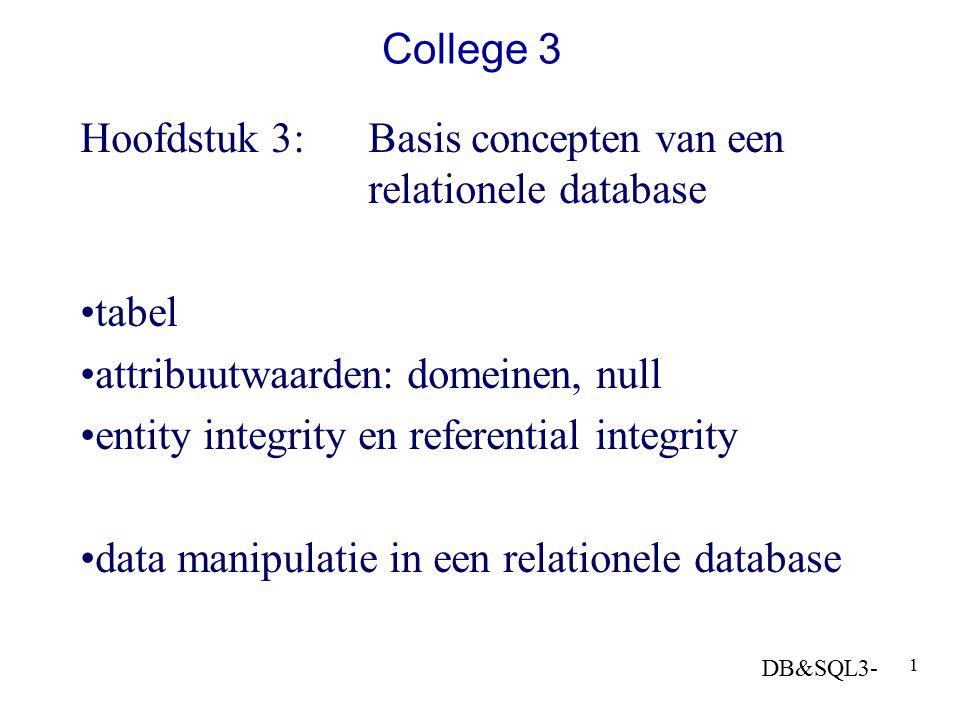 DB&SQL3- 1 College 3 Hoofdstuk 3: Basis concepten van een relationele database tabel attribuutwaarden: domeinen, null entity integrity en referential